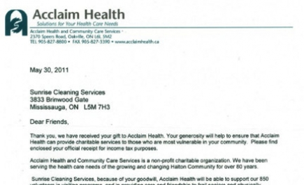 Sponsorship of Acclaim Health Oakville